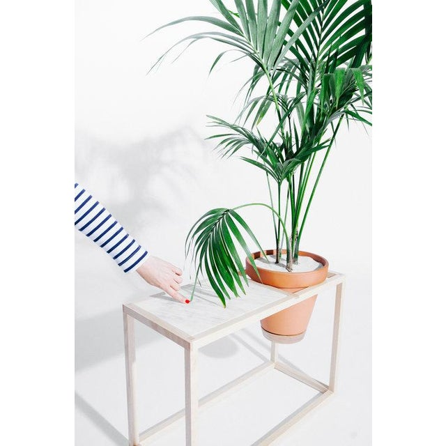 The Frame Planter Side Table is an indoor planter that is also a side table with a marble tabletop. It is made of an...