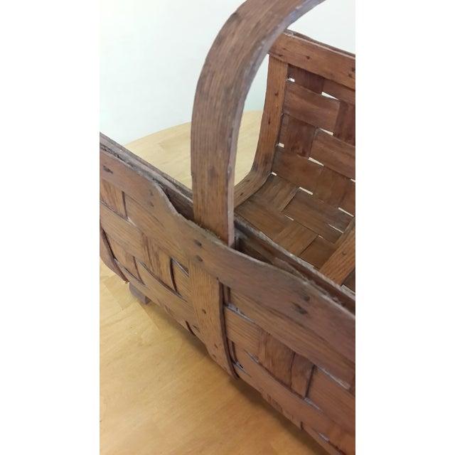 Oak Early 20th Century Antique Split Oak Fireside Basket For Sale - Image 7 of 9