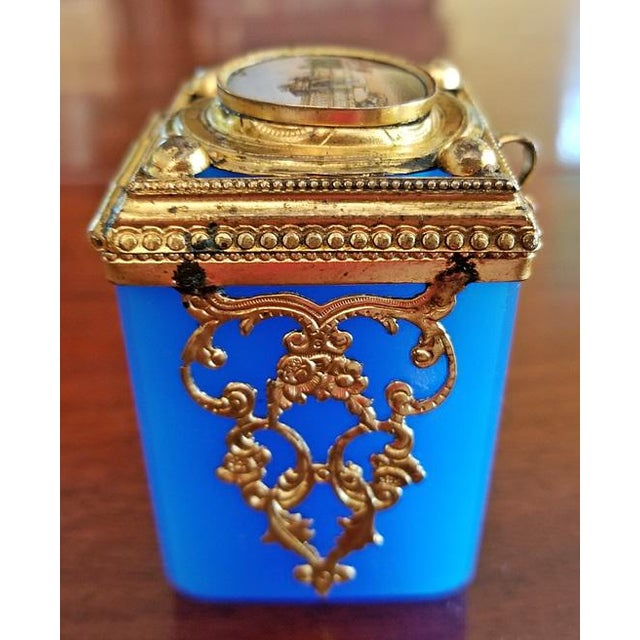 Blown Glass 19c Continental Turquoise Glass Box With Miniature of Palace Scene For Sale - Image 7 of 8