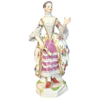 Meissen Kaendler Figure of a Lady of the Court With a Fan, 1910 Edition For Sale