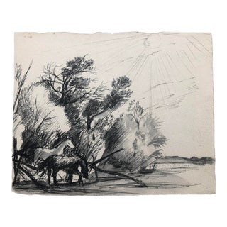 En Grisaille Watercolor With Horses, 1930s For Sale