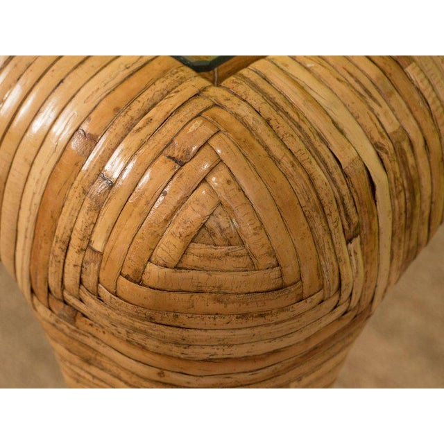 Rattan & Glass Console Table For Sale In New York - Image 6 of 9