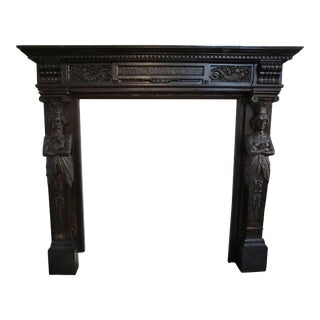 Renaissance Bluestone Mantel Depicting the King and Queen of Belgium For Sale