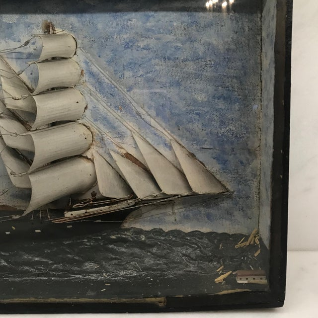 Blue Early 19th Century Diorama Shadow Box of Sailing Vessel For Sale - Image 8 of 11