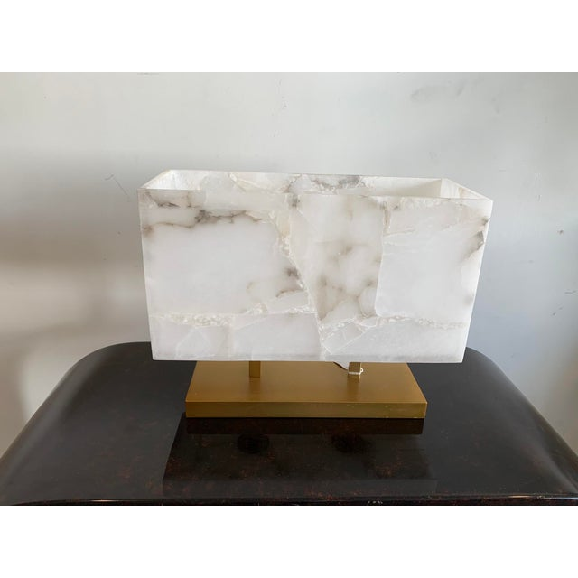 Alabaster Jamie Young Alabaster Ghost Horizon Lamp For Sale - Image 8 of 8