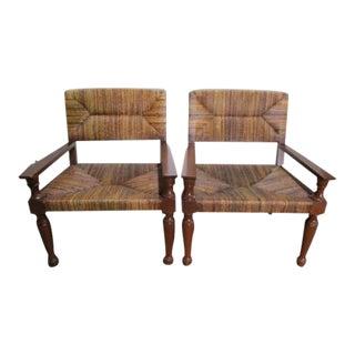 Vintage Palecek Woven Fiber Chairs - A Pair