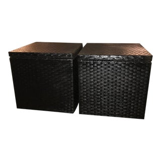 Boho Chic Woven Square Storage Stools – a Pair