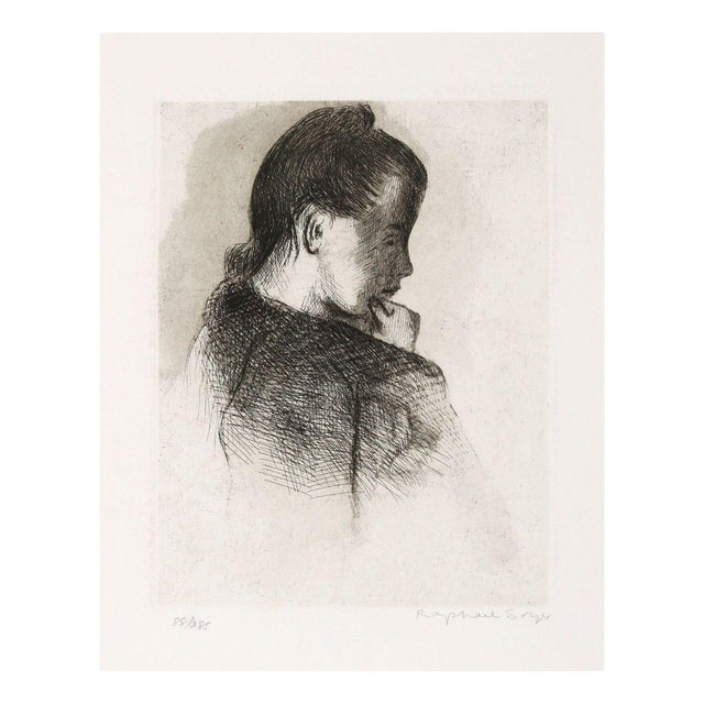 Raphael Soyer Etching - Portrait of a Girl - Image 1 of 2