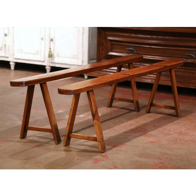 Late 19th Century Pair of 19th Century French Provincial Carved Cherry Wood Trestle Benches For Sale - Image 5 of 10