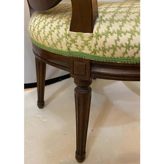 French Maison Jansen Bergeres or Armchairs in Walnut, Stamped Jansen - a Pair For Sale - Image 12 of 13