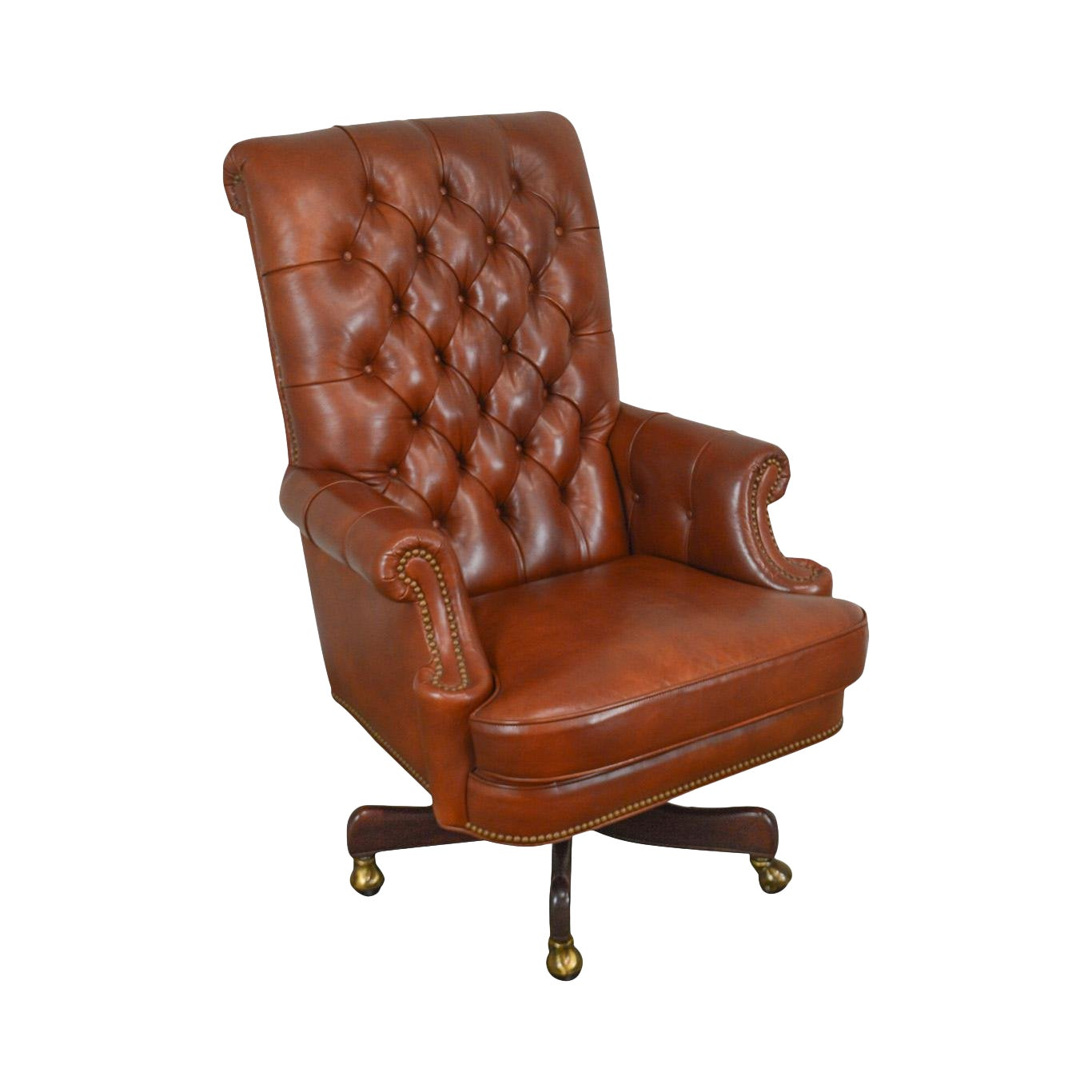 cec72a92af4 Hancock & Moore Tufted Brown Leather Executive Desk Chair