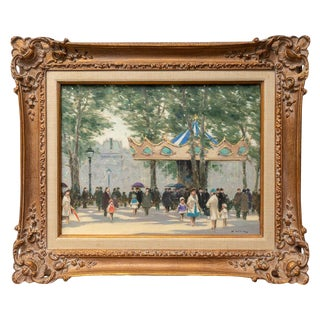 """Oil on Canvas Painting the Paris """"Louvre Carousel"""" by Andre Gisson. For Sale"""