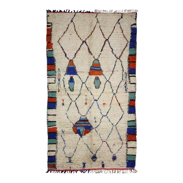 Vintage Moroccan Rug, Berber Moroccan Azilal Tribal Rug, 04'06 X 07'09 For Sale
