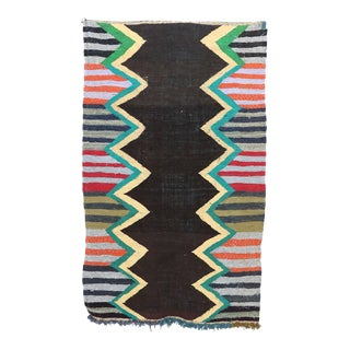 "Moroccan Kilim Boucherouite Rug- 4'3"" X 7'1"" For Sale"