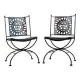 Image of 1950s Mid Century Modern Arthur Umanoff Mayan Sun Cast Iron Chairs - a Pair For Sale