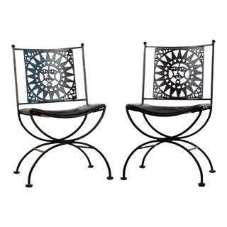 1950s Mid Century Modern Arthur Umanoff Mayan Sun Cast Iron Chairs - a Pair For Sale