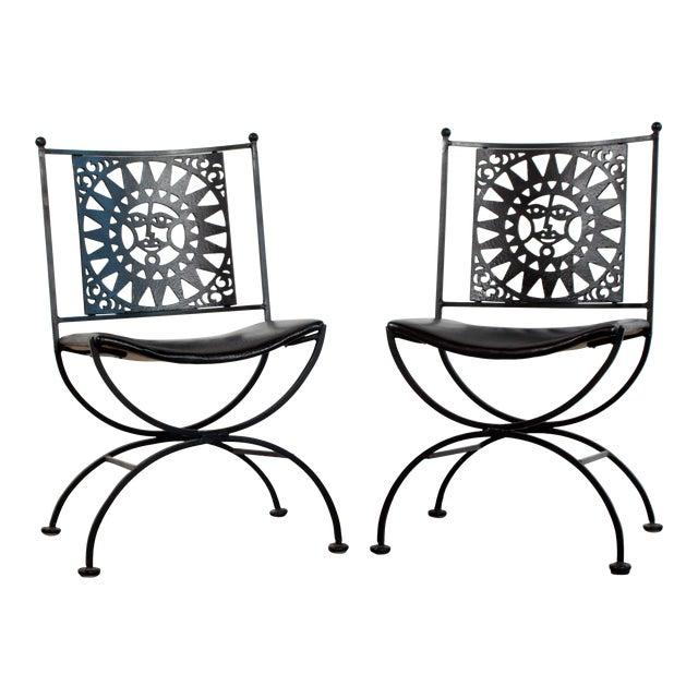 1950s Mid Century Modern Arthur Umanoff Mayan Sun Cast Iron Chairs - a Pair For Sale