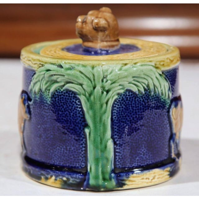 Late 19th Century 19th Century French Hand-Painted Barbotine Sugar Bowl With Lid and Cows For Sale - Image 5 of 9