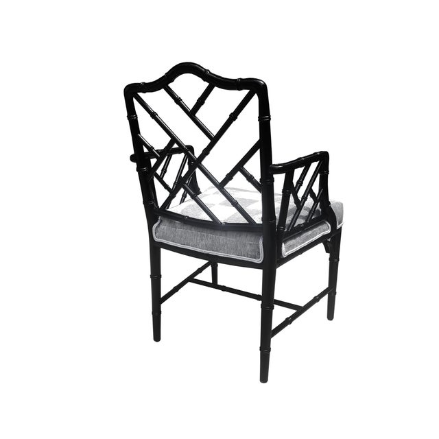 Faux Bamboo Chinese Chippendale Black Lacquered Armchair For Sale - Image 4 of 6