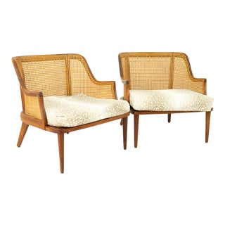 Mid Century Walnut and Cane Upholstered Lounge Chairs - a Pair For Sale
