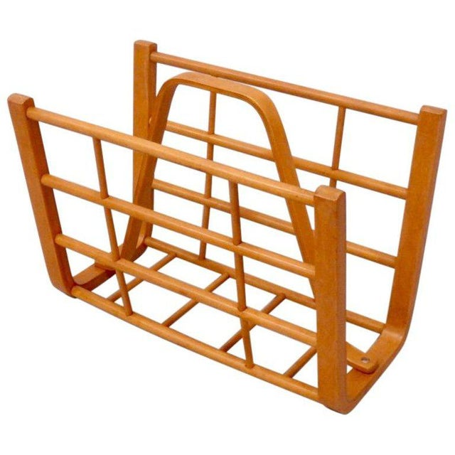 Alvar Aalto Attributed Bent Wood Magazine Stand Rack For Sale In Detroit - Image 6 of 6