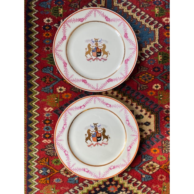 Antique Corsican French-Italian Coat of Arms Sola Virtue Invest Plates - a Pair For Sale - Image 10 of 10