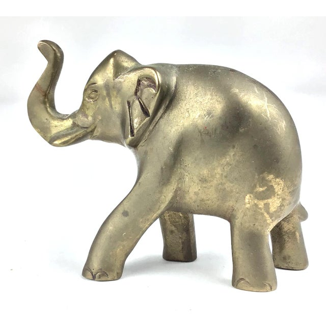 Shabby Chic Vintage Hand Poured Brass Elephant For Sale - Image 3 of 12
