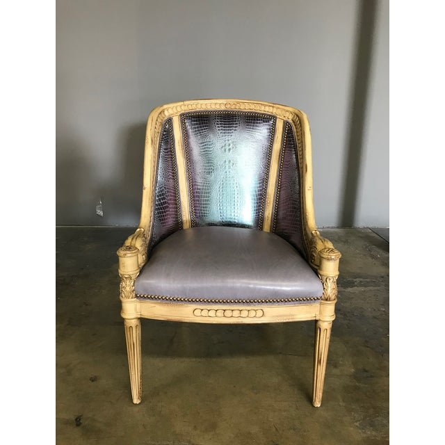 2010s Metallic Embossed Leather and Carved Lounge Chair For Sale - Image 5 of 5