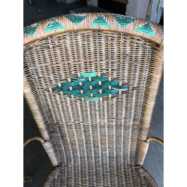 These are very old wicker chairs with hints of green within the wicker. We have had these for over 50 years, and they were...