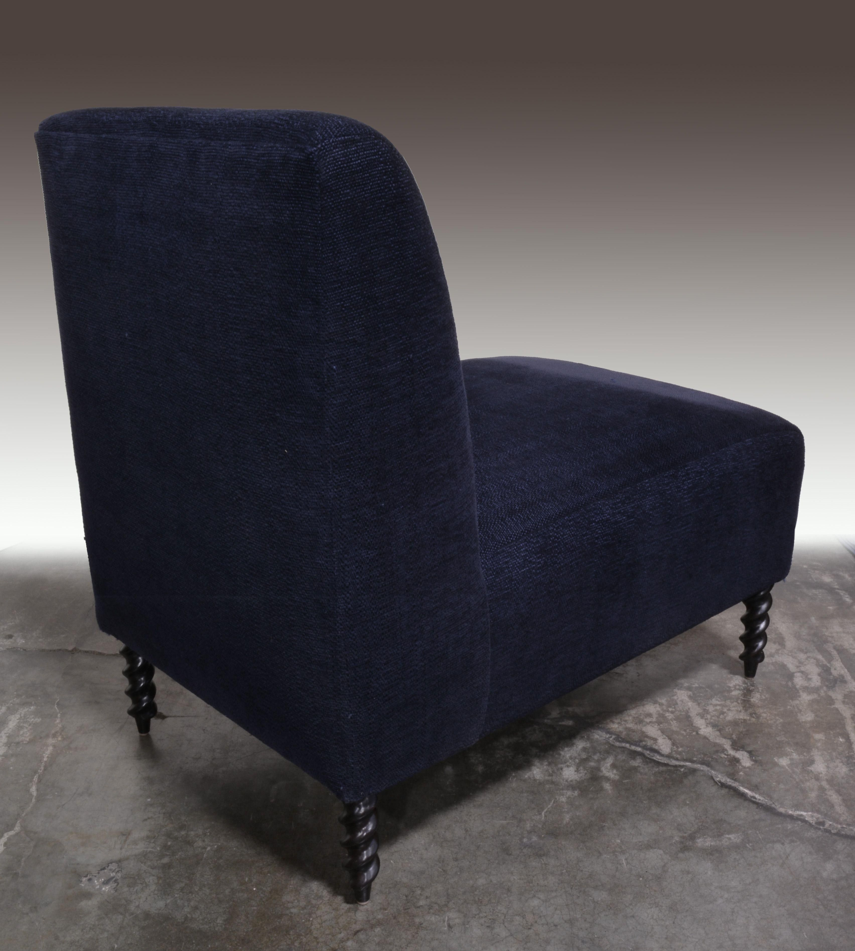 Charmant Navy Blue Slipper Chair   A Pair   Image 4 Of 4