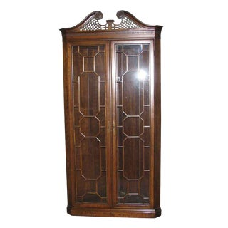 Classical Design Walnut Corner Display Cabinet For Sale