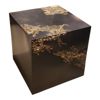 Handcrafted Brutalist Cube Table in Oil-Rubbed Bronze & Brass, 2016 For Sale