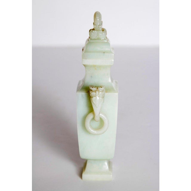 Late 19th / Early 20th Century Pale Celadon Jade Vase & Cover, China, Qing Dynasty For Sale - Image 4 of 13