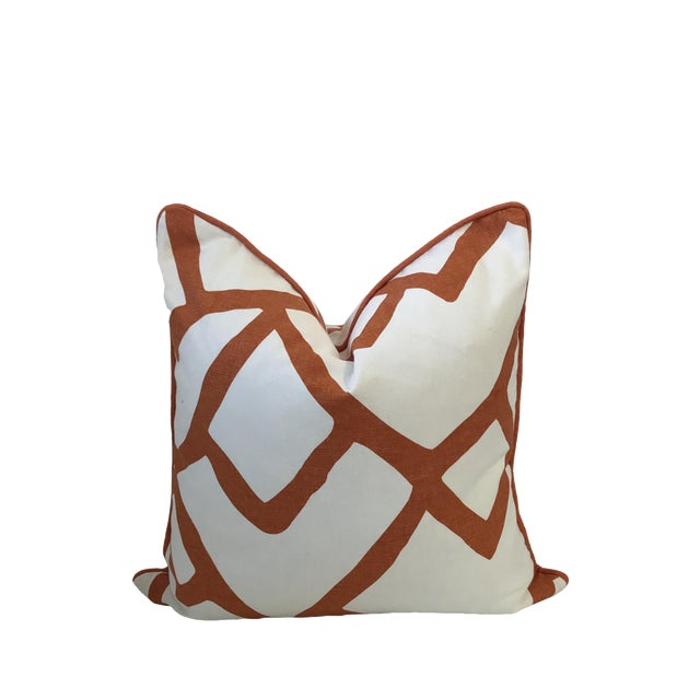 "20x20"" Schumacher Zimba Orange Pillow Cover For Sale"