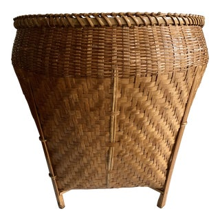 Vintage Balinese Decor Storage Basket For Sale