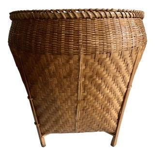 Vintage Balinese Decor Storage Basket For Sale