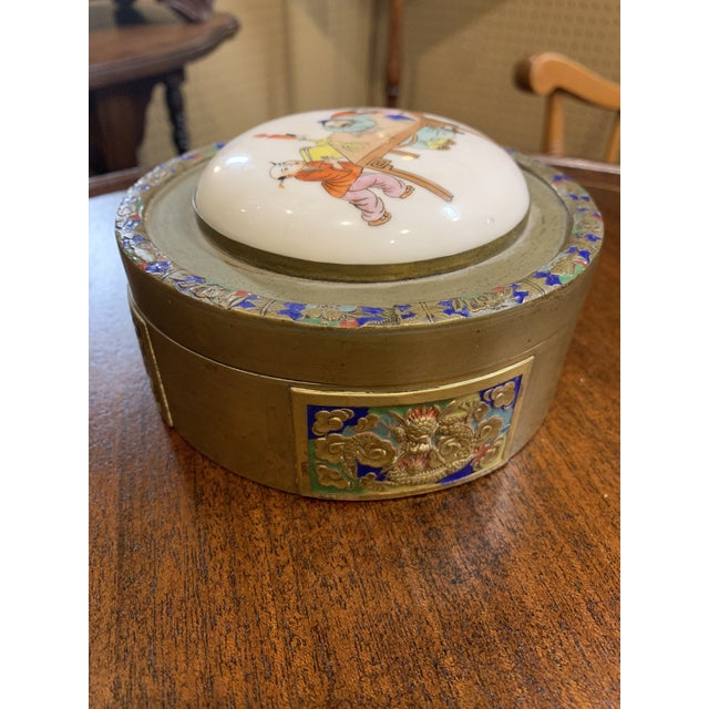 1950s Antique Chinese Brass and Enamel Box With Porcelain Top. For Sale - Image 5 of 6