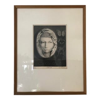 "1970 Vintage Original Etching ""Botticelli"" Limited Edition Print by Bill Brauer For Sale"