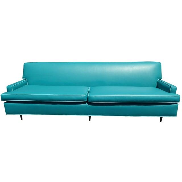 Mid-Century Turquoise Vinyl Sofa - Image 1 of 11
