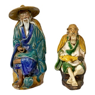 Antique Chinese Wise Men Ceramic Sculptures For Sale