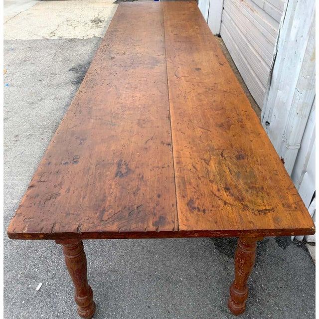 Wood Late 19th Century Southern Red Paint and Chestnut Farm Table For Sale - Image 7 of 13