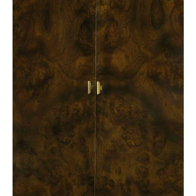 Metal Mastercraft Burl and Acid Etched Brass Wardrobe Cabinet For Sale - Image 7 of 9
