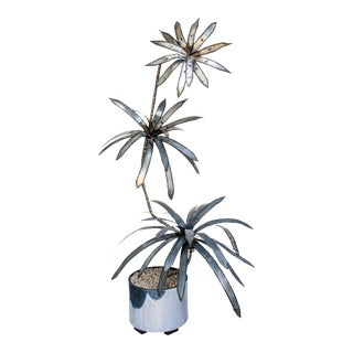 Monumental Brutalist Torch Welded Metal Palm Tree Sculpture For Sale
