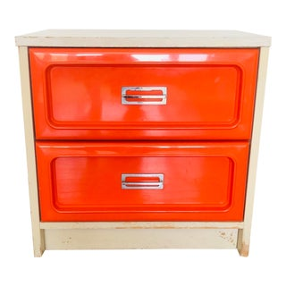 1970s Space Age Modern Basset Orange Nightstand For Sale