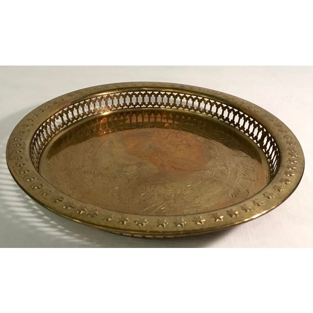 Mid-Century Modern Mid-Century Modern Brass Pierced and Embossed Tray For Sale - Image 3 of 7
