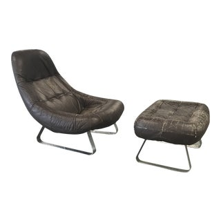 """Mid Century Percival Lafer Brazilian """"Earth Chair"""" Set Armchair and Ottoman For Sale"""