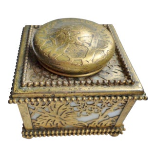 Antique Tiffany Gold Gilt Bronze Grapevine Inkwell For Sale