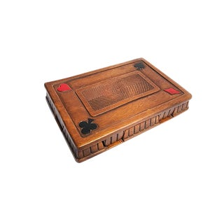 1960s Mid Century Modern Syroco Wood Playing Card Holder