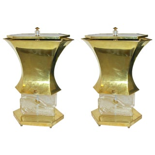 Gucci 1980s Italian Pair of Post Modern Crystal and Silver Glass Gold Brass Lamps For Sale