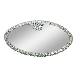 Vintage Venetian Style Vanity Mirrored Tray Oval For Sale